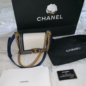 Chanel white navy calfskin small boy flap bag